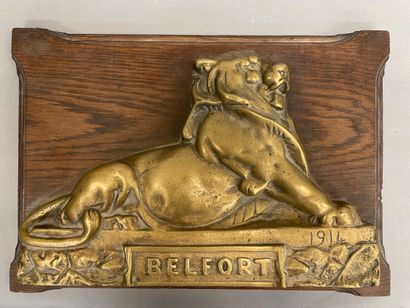 Le lion de Belfort plaque en bronze, datée...