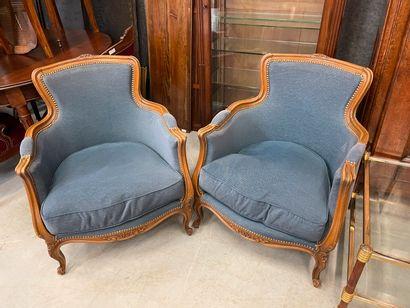 Deux bergères de style Louis XV