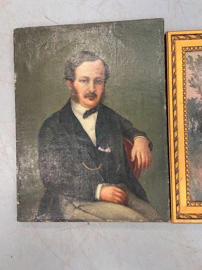 Ecole française début 20ème  Portrait d'homme  huile sur toile  Joint bord de r...