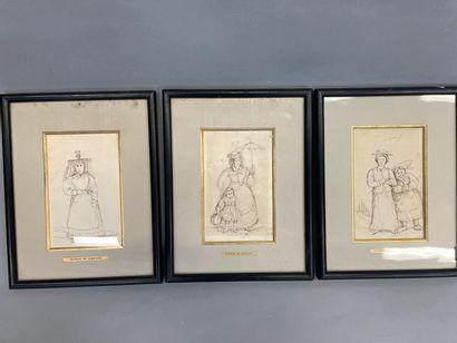 Dunoyer de Segonzac  Trois dessins encadrés...