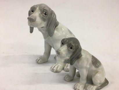 Deux chiens en porcelaine  H plus grand :...