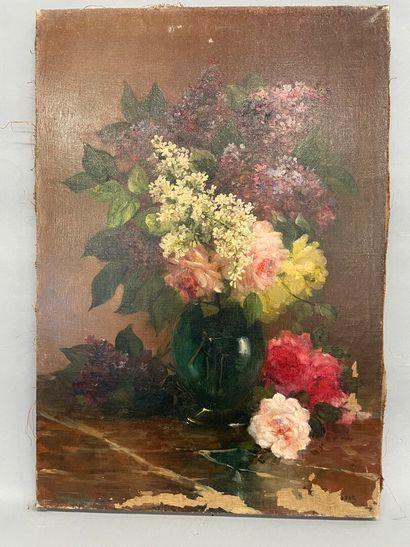 Bouquet de lilas  huile sur toile  55 x 38...
