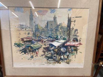 Joan SARQUELLA  Scène de marché  Gouache sur papier  46 x 58 cm