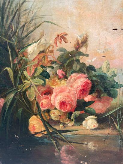 Bouquet de roses  huile sur toile  66 x 49 cm  Accidents