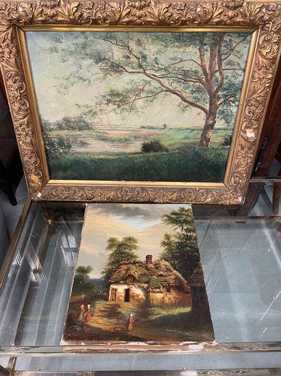 Deux huiles sur toile  Paysage  La plus grande...
