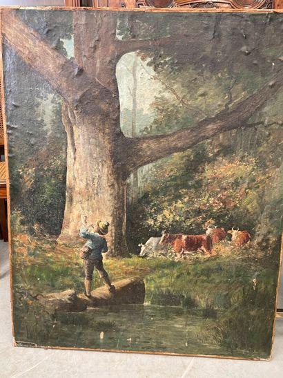 Le vacher  Huile sur toile  100 x 81 cm