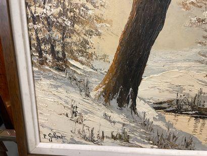 Paul GOBERT  Paysagfe d eneige  Huile sur panneau  Signée  29 x 67 cm