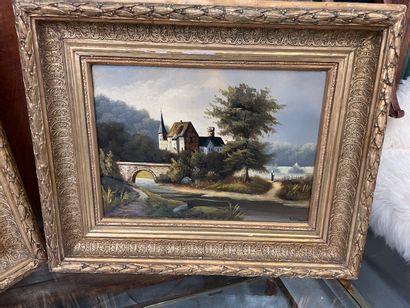 Paire de paysages  Huile sur toile, cadre en stuc  33 x 47 cm