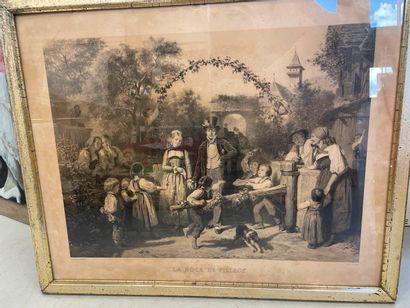 d'après Gerardet  Noce de village  Gravure  58 x 72 cm