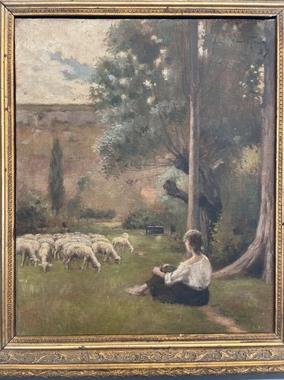 La Bergère  huile sur toile  SHD  Daté 1989  45 x 36 cm