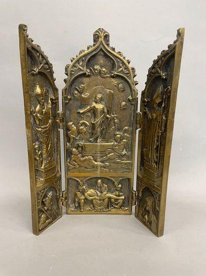 Triptqye en bronze La resuréction du Christ...