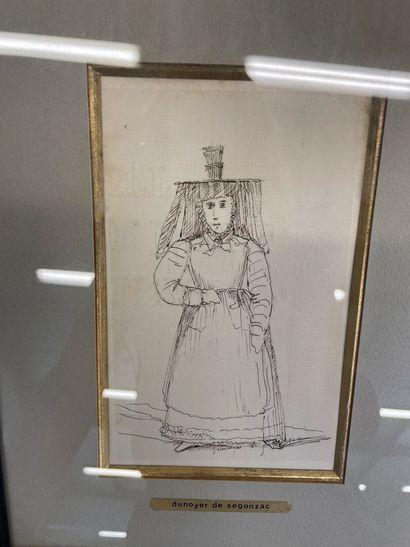 Dunoyer de Segonzac  Trois dessins encadrés de femmes dont une bressane  16.5 x...