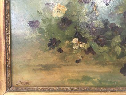 BAUDIN  Pensées  Huile sur toile  38 x 44 cm