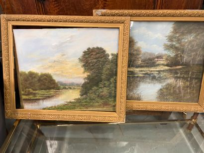 Paire de paysages  Aquarelle  52 x 43 cm