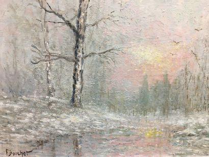 F BOUCHET  Paysage avec arbre  Huile sur toile  45 x 54 cm
