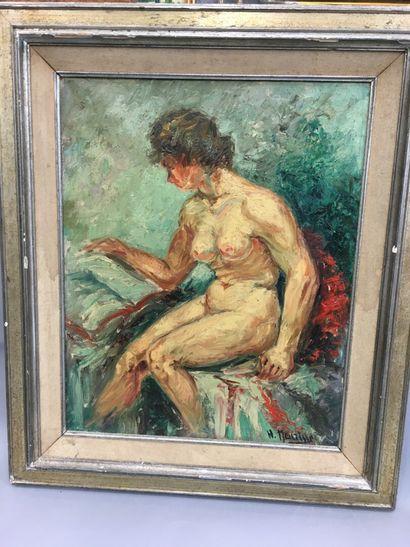 H. Meurisse  Nue  Huile sur toile  50 x 39...
