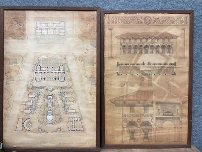 Deux grands dessins d'architecture  Pouradier-Duteil...