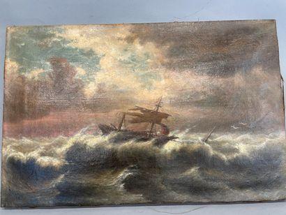 La Tempète  HST  Monogrammé P  Daté 1994  38 x 59 cm