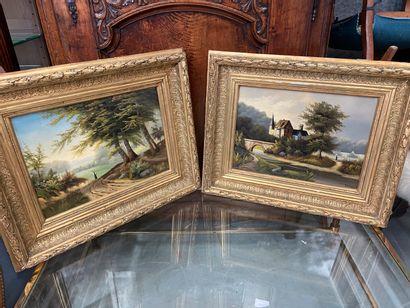 Paire de paysages  Huile sur toile, cadre...