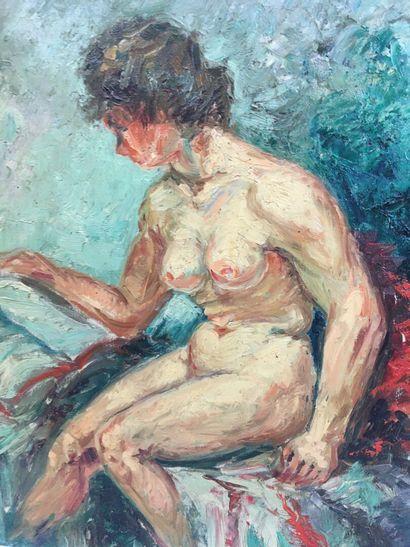 H. Meurisse  Nue  Huile sur toile  50 x 39 cm  Accident