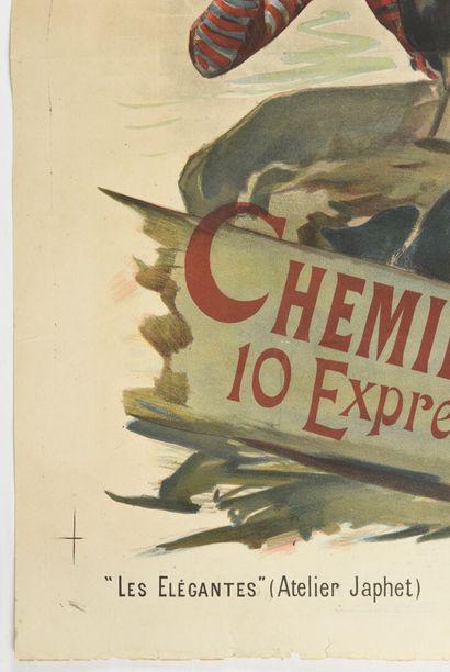 ZAPHEL, L'été à Dieppe chemin de fer de l'Ouest,  Courmont  130 x 94 cm  (manque,...