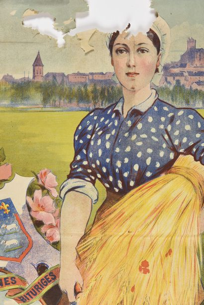 Ville de Bourges, exposition de 1897,  VIELLEMARD à paris  Manque important, déchirures,...