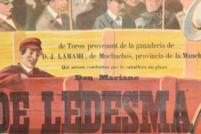 Arènes de Vichy courses espagnoles  Complète en deux parties  130 x 100 cm x2  (déchirures...
