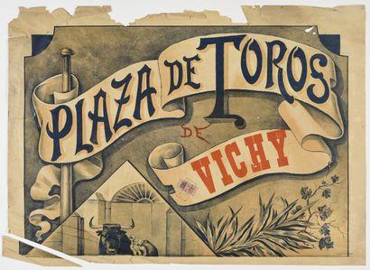 Plaza de Toros Vichy, avec cachet et timbre, partie 1 et deux  62 x 84 cm  (déchirures,...