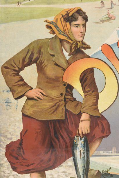 Ugo d'Alesi Dieppe, chemin de fer de l'ouest  100 x 75 cm  (déchirures, tâches)