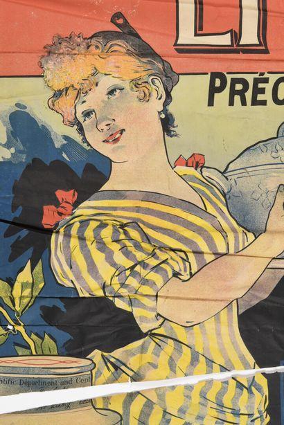 Liebig, affiche seule, déchirures,  (manque, papier gondolé)  130 x100 cm