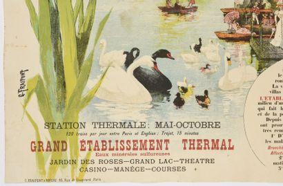 FRAIPONT, Enghien les Bains, (avec cygnes)  105 x 75 cm  manques, déchirures à la...