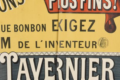 Bonbon John TAVERNIER,  60 x 80 cm  (déchirure importante, manques, rousseurs)