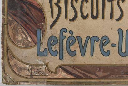 Alphons MUCHA Biscuit champagne Lefèvre- Utile  Chromo lithographique publicitaire...