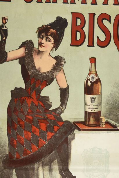 Fine Champagne Bisquit  Champenois,  120 x 90 cm  (déchirures et manques à la m...