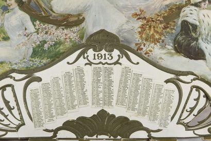 Au planteur de Caïffa, Calendrier Publicitaire 1913  H. 32 cm - L. 46 cm  (un angle...