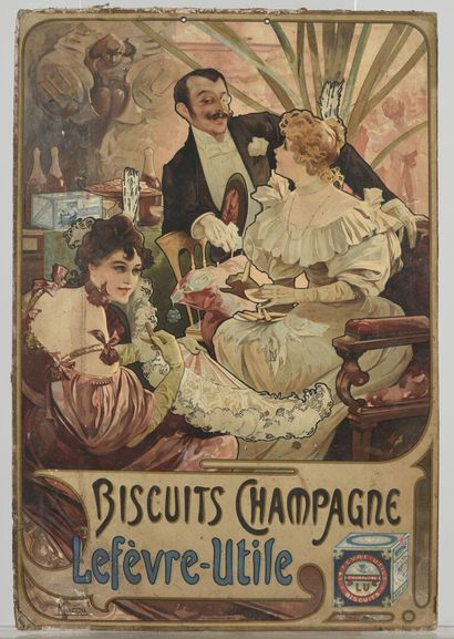 Alphons MUCHA Biscuit champagne Lefèvre-...