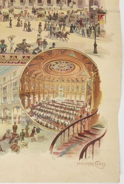 TAMAGNO, Grand Hôtel Paris, Camis  90 X 108 cm  (pliures, déchirures, manque à...