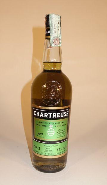 1 B CHARTREUSE VERTE VOIRON 70 cl 55% (contre-étiquette...