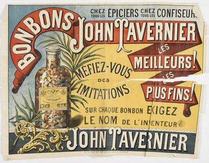 Bonbon John TAVERNIER,  60 x 80 cm  (déchirure...