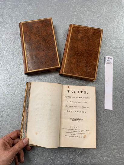 Tacite. Traduction de Dureau de Lamalle. 3 volumes in-8 reliés plein veau. Paris,...