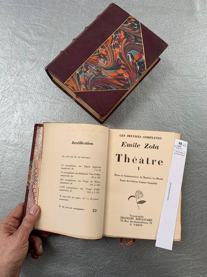 Emile Zola. Théâtre. 2 volume in-8, demi-reliures à coins en cuir (chagrin). Un...