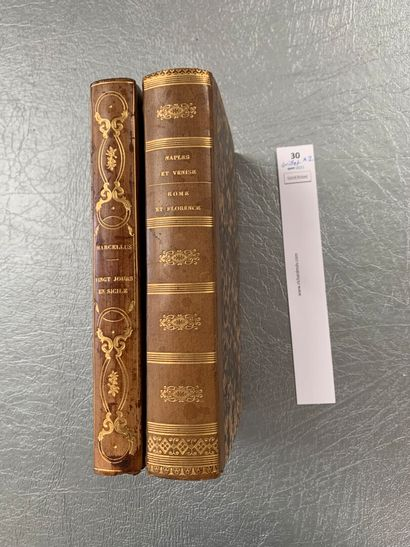 [Italie]. Un ensemble de 2 volumes: Vingt jours en Sicile par le Vicomte de Marcellus....