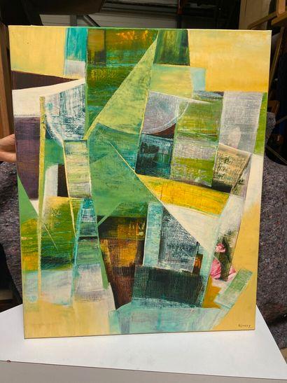 Michel REMERY  Composition n°2  huile sur...