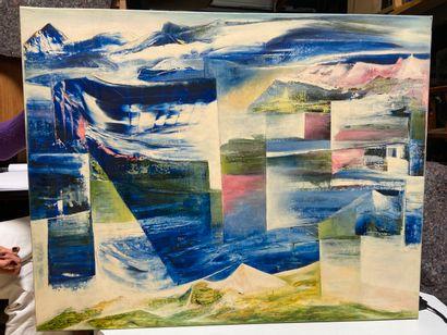 Michel REMERY  Bleu cristal  huile sur toile,...