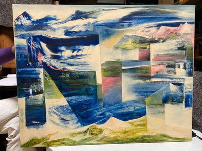 Michel REMERY  Bleu cristal  huile sur toile, 2003  Signée en bas à droite  72x92...