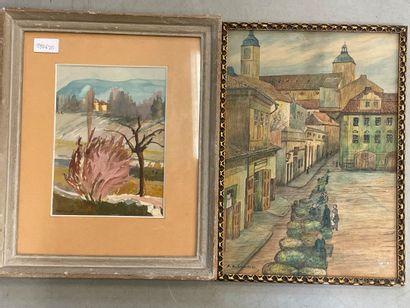 Deux dessins  Paysage et vue de ville  38...