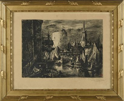 Johannes DREVET  Le port de la Rochelle  Gravure...