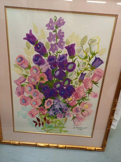 G DARSONVAL, bouquet de fleur  Gouache sur...
