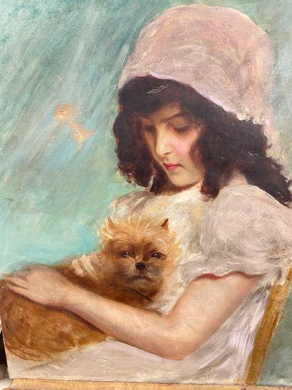 Jeune fille au chien  Huile sur toile  60...