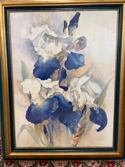 VERNON  Les Iris  Huile sur toile  Signée...